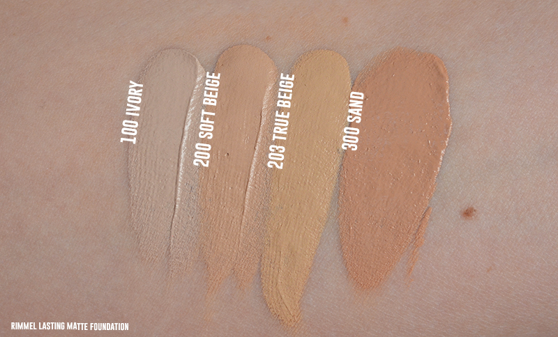 Rimmel lasting matte foundation swatches